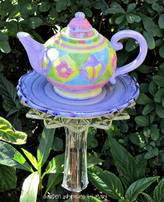 Garden Totem Stake Spring Flowers and Butterflies Teapot - As Featured In Flea Market Gardens Magazine