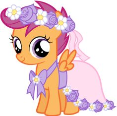 Scootaloo's flower girl dress. Yes, Scootaloo is actually WEARING A DRESS!