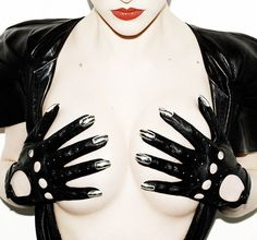 Leather driving gloves with white gold nails!!