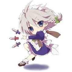 blue eyes chibi izayoi sakuya knife kona maid short hair touhou ❤ liked on Polyvore featuring anime and chibi