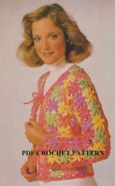 Vintage Floral Motif Cardigan Crochet PDF by KatnaboxCrochet