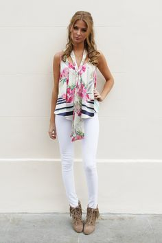 We love Made in Chelsea's Millie Mackintosh's St Tropez look! She wears James Jeans Twiggy and Elizabeth and James Top www.donnaida.com