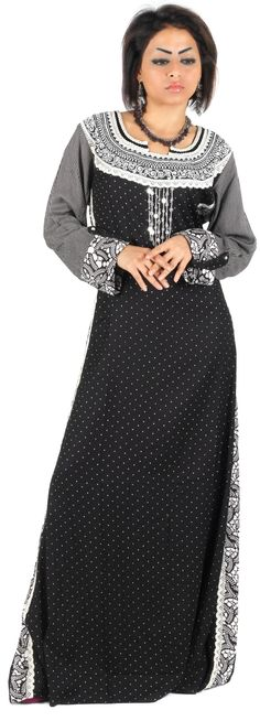 Aljalabiya.com: Plain Cotton Jalabiya with silver embroidery (N-12064) $122.00
