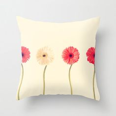 Pillow Cover Pink Pillow Flower Pillow White Pillow by Andrekart, $37.00