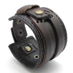 KONOV Jewelry Wide Genuine Leather Mens Bangle Cuff Bracelet, Color Brown