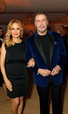 John Travolta kept his look from his latest role and paired it with a dapper blue velvet suit jacket, along with wife Kelly Preston, at Nikki Beach in Cannes Blue Velvet Suit, Velvet Suit Jacket, Hollywood Heroines, Hollywood Actresses, John Travolta Wife, John Travolta Kelly Preston, Nikki Beach, All Actress, Rachel Brosnahan