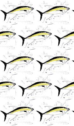 Yellowfin Tuna Grey Splash fabric by squidinkdesigns on Spoonflower - custom fabric