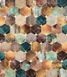 """Geometric Art - """"Natural Hexagons And Diamonds"""" wall art by Elisabeth Fredriksson available at Great BIG Canvas. Gifts For Art Lovers, Lovers Art, Art Deco Artwork, Wall Art, Wall Mural, Geometric Art, Geometric Patterns, Geometric Poster, Abstract Pattern"""