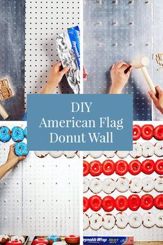 What better way to celebrate the than with red, white and blue desserts? This flag-inspired donut display serves as both a tasty treat and a festive decoration! Blue Desserts, Festival Decorations, Independence Day, Fourth Of July, Yummy Treats, American Flag, Donuts, Red And White, Display