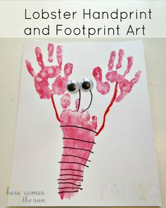Did this one today for hubby's bday...he loves it.  did both lil boys side by side...turned out so stinkin cute!!!Summer Activities for Kids Series: Lobster Hand and Footprint art!