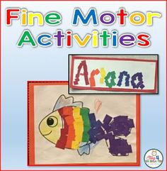 Fine Motor Activities for kindergarten: Create a rainbow fish and rainbow name…