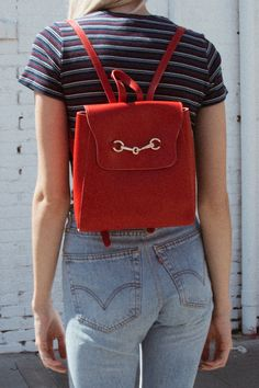 Gold Buckle Red Backpack