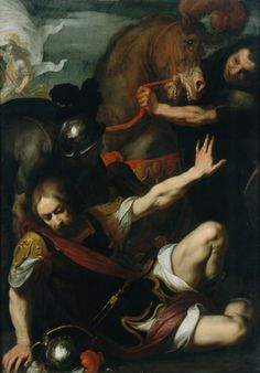 Daniele Crespi  The Conversion of Saint Paul, circa 1621    Oil on wood panel  118.7 cm x 84.5 cm (46 3/4 in. x 33 1/4 in.)  The Suida-Manning Collection