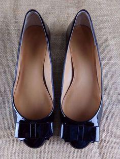 J CREW Harper Double Bow A1599 Shiny Flats Ballet Mary Janes Black Shoes Women 7 #JCREW #MaryJanes #Casual