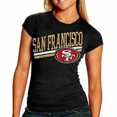 San Francisco 49ers Ladies Team Stripe T-Shirt - Black - med
