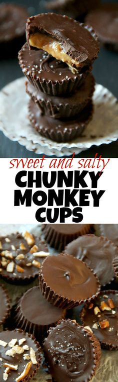 You'll go bananas for these sweet and salty Chunky Monkey Cups! Just 5 simple ingredients for one ridiculously delicious chocolate treat! | runningwithspoons.com #vegan #healthy #dessert