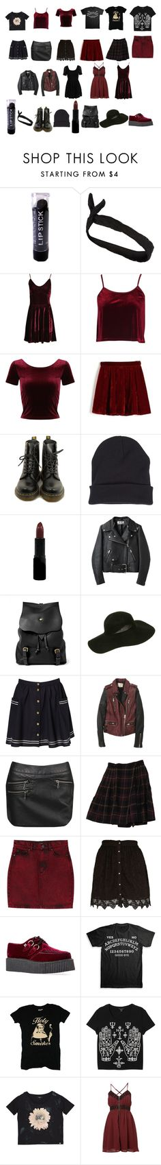 """""""Black and burgundy summer capsule wardrobe"""" by rinaravaged ❤ liked on Polyvore featuring River Island, Boohoo, Dr. Martens, Rimmel, Acne Studios, Bill Amberg, Forever 21, Rena Rowan, Monki and T.U.K."""