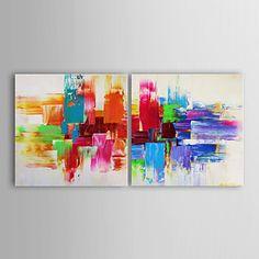 Pintada a mano AbstractoModern Dos Paneles Lienzos Pintura al óleo pintada a…