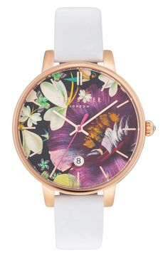 Ted Baker London Ted Baker London Kate Round Leather Strap Watch, available at Ted Baker Watches, White Floral Crowns, Ted Baker Womens, Ladies Of London, Quartz Watch, White Leather, Purple, Accessories, Bracelet