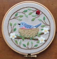 Nesting Bluebird Crewel Embroidery Pattern and Kit by Theflossbox on Etsy Crewel Embroidery Kits, Embroidery Needles, Japanese Embroidery, Vintage Embroidery, Embroidery Patterns, Embroidery Supplies, Stitch Patterns, Embroidery Techniques, Etsy
