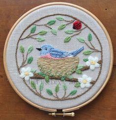 Nesting Bluebird Crewel Embroidery