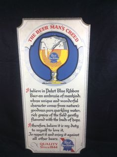 Pabst Blue Ribbon Beer Mans Creed Bar Sign Wood Advertising Vintage PBR #cjbeez #beer #breweriana #mancave #bar #pub #pabst #pabstblueribbon #pbr