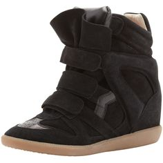 Isabel Marant Beckett Hi-Top Wedge Sneaker, Black ($489) ❤ liked on Polyvore featuring shoes, sneakers, wedges, isabel marant, sapatos, wedge sneakers, isabel marant sneakers, high-top sneakers, black hi tops and black suede sneakers