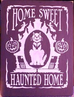 Primitive Home Sweet Haunted Home Halloween Sign black cats cat decorations ghosts haunting house Witches samhain signs scary fall decor  by SleepyHollowPrims, $24.30 USD