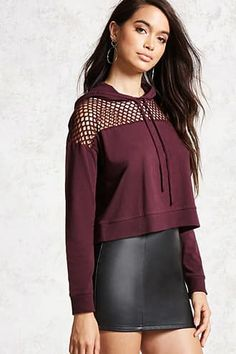 A semi-cropped knit sweater with a drawstring hood, mesh paneled yoke, and long sleeves. Look Fashion, Urban Fashion, Girl Fashion, Fashion Design, Stylish Girl Pic, Stylish Outfits, Cute Outfits, Dance Outfits, Sport Outfits