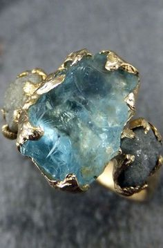 Raw Uncut Aquamarine Diamond Gold Engagement Ring