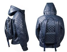 H=Jacket Doubles as a Jacket and a Backpack : H by Harris' H=Jacket is a jacket-backpack; it comes with an attached backpack on the back.