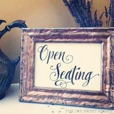 OPEN SEATING Sign Wedding Reception Ceremony by TheIvyPrintStore