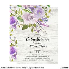 Rustic Lavender Floral Baby Shower Invitation