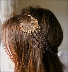 Boho chic sun burst peacock chain headband.