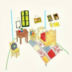 반고흐의 방. Van Gogh's bedroom-with bohemian touch :p  #데일리 #반고흐 #고흐 #방 #명작 #인테리어 #보헤미안 #그림쟁이 #일러스트 #그림 #디자인 #아트 #손그림 #instadaily #VanGogh #Gogh #bedroom #interior #bohemian #illustration #drawing #doodle #design #art