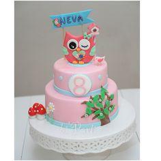 Owl cake. Pink cake. Birthday cake. Baykuş pasta.