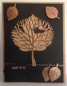 handmade card ... black and metallic copper ... embossing and foil die cut ... Thoughtful Branches tree die cut and embossed leaves ... awesome! ... Stampin' Up!