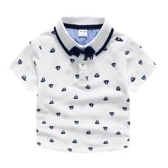 Find More Tops Information about 2016 Kids Boys Boats Print Bows Polo Tees Cute White Shirts Summer Blouse Fashion Cute Boys Clothing Wholesale,High Quality clothing mark,China clothing dance Suppliers, Cheap boat organizer from Everweekend Kids Clothing Co.,Ltd on Aliexpress.com