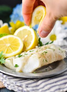 5-Ingredient, 5-Minute Lemon Garlic Cod   Healthy Dinner Recipes   Healthy 5 Ingredient of Less Recipes   Easy Dinner Recipes   Dinner Ideas   Healthy Recipes Easy   Fish Recipes   Seafood Recipes   Gluten Free Recipes for Dinner   Low Carb Recipes for Dinner   High Protein Recipes