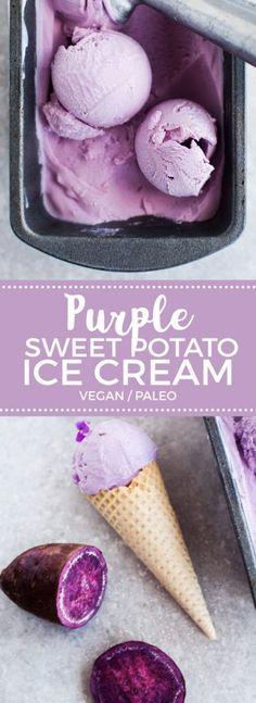 Vegan Purple Sweet Potato Ice Cream Coconut & Purple Sweet Potato Ice Cream (Vegan) >>> Okay. I am not vegan, but I love veggies. I especially love purple veggies that can become ICE-CREAM! Healthy Vegan Dessert, Coconut Dessert, Vegan Treats, Vegan Desserts, Dessert Recipes, Coconut Milk, Paleo Vegan, Healthy Meals, Healthy Recipes