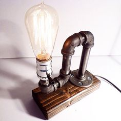 Cool lamp for son's bedroom -- ON SALE Industrial pipe light lamp Unique by UrbanIndustrialCraft