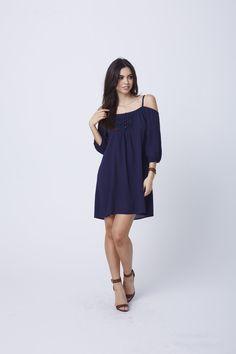 Savannah Shoulder Show-off Dress (Navy)