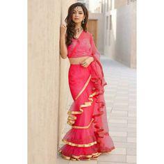 a34b5baae18 Frill Ruffles Border Saree With Blouse  saree  bollywoodsaree   partywearsaree  designersaree  womenwear