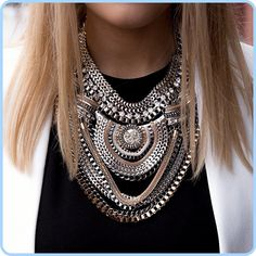 Big Fashion Exaggerated Brand Style Multi-ethnic Women's White K Gold Plated Chains Necklace Evening Dress Jewelry Free Shipping $11.39