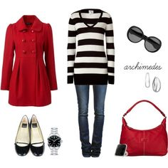 Minda's Ideas: 142 Black and white striped sweater with red and black accessories. Cute for a casual Christmas outfit. Vogue, Black White Red, Autumn Winter Fashion, Winter Style, Winter Wear, Fall Fashion, Fall Winter, Swagg, Fashion Outfits