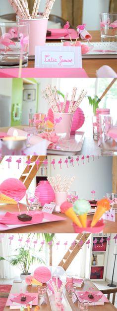 Déco de table d'été flamant rose