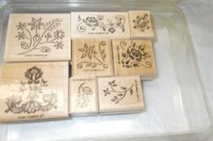 Elegant Embroidery Stampin up rubber stamp set by NoodlesNotions, $8.00