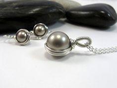 Swarovski Pearl Necklace & Earrings Set by RiverGumJewellery, $60.00