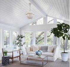 Newlywed Home Design Ideas Shiplap ceiling. Living room with shiplap ceiling. Living room with wood paneled ceiling and floor- Shabby Chic Living Room, Living Room Decor, Shabby Chic Porch, Bedroom Decor, 2 Bedroom House, Living Room Goals, Coastal Living Rooms, Master Bedroom, Style At Home