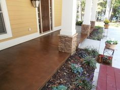 Stained concrete porches. Great idea